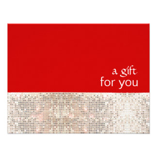 FAUX Silver Sequins Salon Holiday Gift Certificate Personalized Invitation