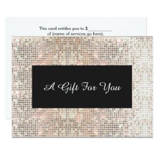 Faux Silver Sequins Spa and Salon Gift Certificate 9 Cm X 13 Cm Invitation Card