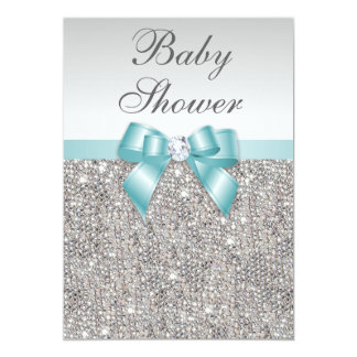 Faux Silver Sequins Teal Blue Baby Shower Card