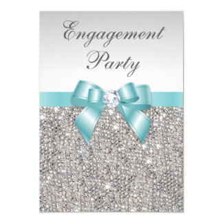 Faux Silver Sequins Teal Bow Engagement Party 13 Cm X 18 Cm Invitation Card