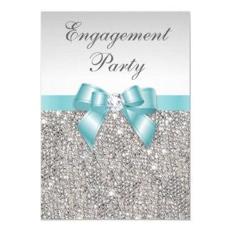 Faux Silver Sequins Teal Bow Engagement Party 13 Cm X 18 Cm Invitation Card