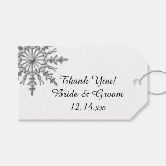 Faux Silver Snowflake Winter Wedding Favor Tags