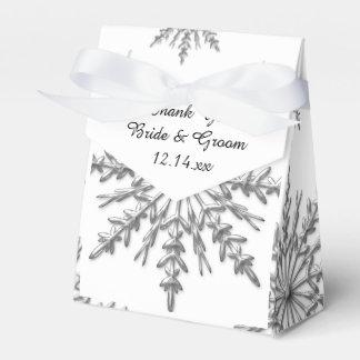 Faux Silver Snowflakes Winter Wedding Favor Box Favour Boxes