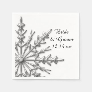 Faux Silver Snowflakes Winter Wedding Paper Napkin