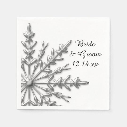 Faux Silver Snowflakes Winter Wedding Paper Napkin