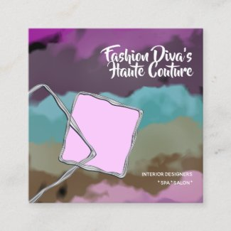 Faux silver watercolor abstract pink blue brown square business card