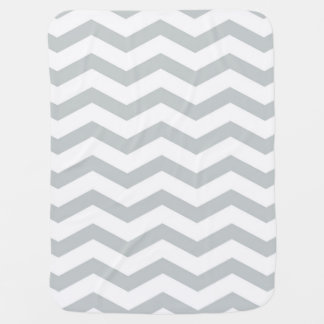 Faux Silver White Foil Chevron Zig Zag Striped Baby Blanket