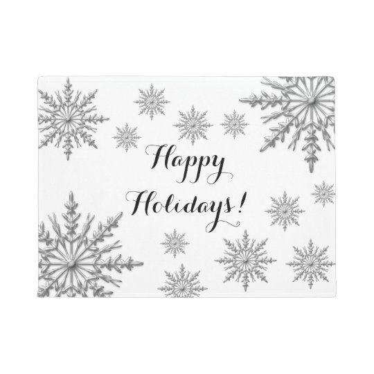 Faux Silver Winter Snowflakes Happy Holidays Doormat