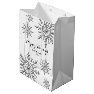 Faux Silver Winter Snowflakes Happy Holidays Medium Gift Bag