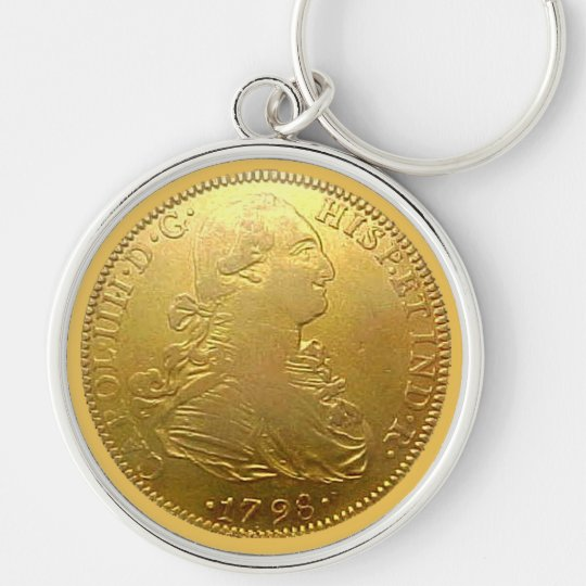 Faux Spanish Gold Doubloon Premium Keychain