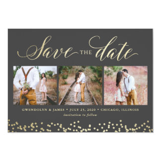Faux Sparkle 3 Photo Save the Date Card