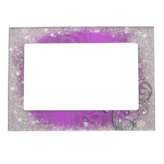 Faux Sparkle, Glitter on Purple, Custom Magnetic Picture Frame