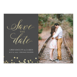 Faux Sparkle Save the Date Card
