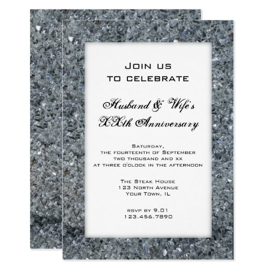 Faux Sparkle Wedding Anniversary Party Invitation