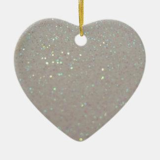 Faux Sparkles & Glitter - Cream White Ceramic Heart Decoration
