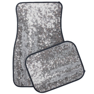 faux sparkling silver sequin pattern car mat