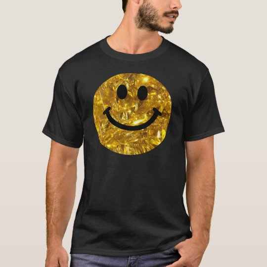 Faux Sparkly Gold Bling Smiley T-Shirt