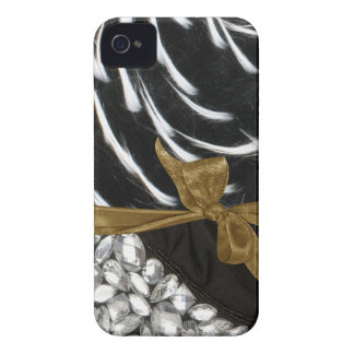 Faux Spiked Fur & Jewels Iphone barely there Case iPhone 4 Cover