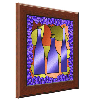 Faux Stained Glass Window Wine Canvas Wall Art Stretched Canvas Print