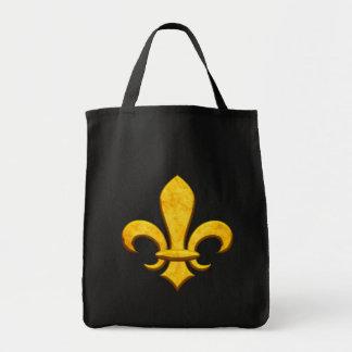 Faux Stone Gold Fleur de lis Tote Bags