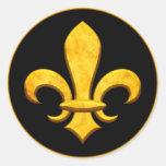 Faux Stone Gold Fleur de lis Round Sticker