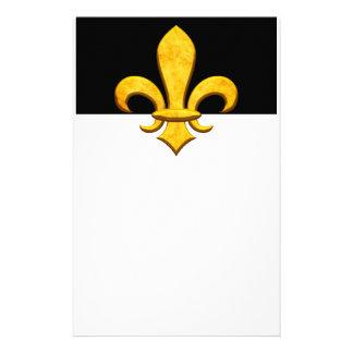 Faux Stone Gold Fleur de lis Stationery Design