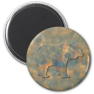 Faux Stone Grizzly 6 Cm Round Magnet