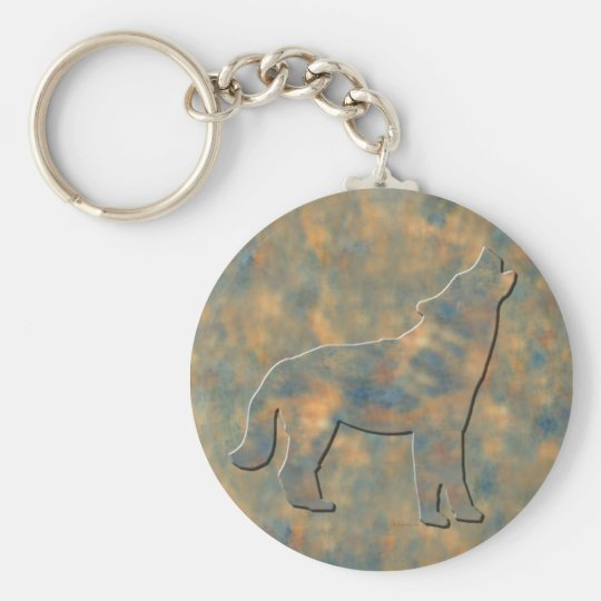 Faux Stone Wolf Art Basic Round Button Key Ring