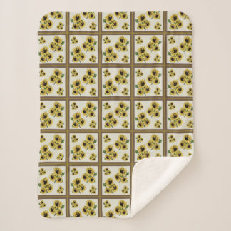 Faux Sunflower Quilt Patch Sherpa Throw