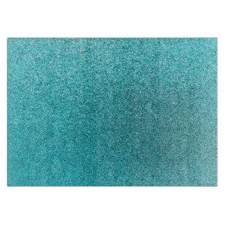 Faux Teal Blue Glitter Background Sparkle Texture Cutting Board