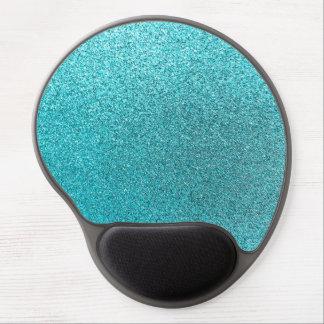 Faux Teal Blue Glitter Background Sparkle Texture Gel Mouse Mat