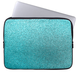 Faux Teal Blue Glitter Background Sparkle Texture Laptop Sleeve