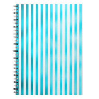 Faux Teal Blue White Vertical Aqua Narrow Stripes Spiral Notebook