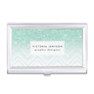 Faux teal glitter ombre modern chevron pattern business card holder