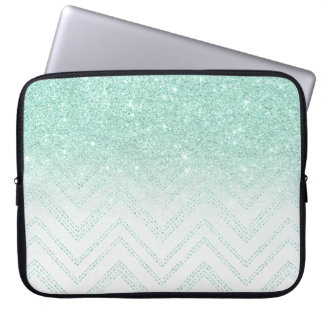 Faux teal glitter ombre modern chevron pattern laptop sleeve