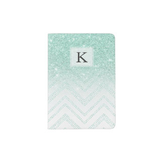 Faux teal glitter ombre modern chevron pattern passport holder