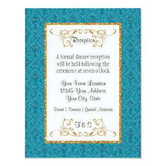 Faux Teal Gold Glitter Damask Ticket Style Invite