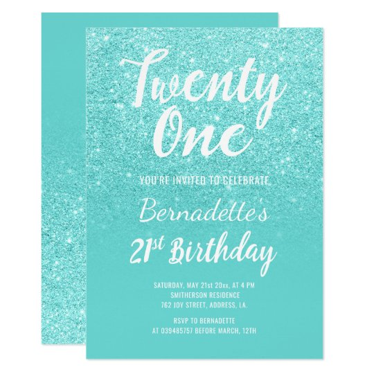 Faux teal turquoise glitter ombre 21st Birthday Card