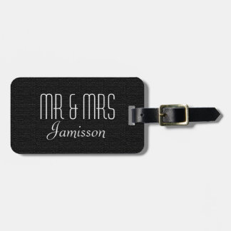 Faux Textured Black Burlap MR and MRS Luggage Tag