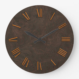 Faux Tooled, Carved Leather & Copper-look Numerals Wall Clock