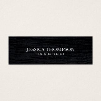 Faux Velvet Black Print Mini Business Card
