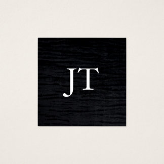 Faux Velvet Black Print with Monogram Square Business Card
