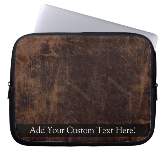 Faux Vintage Leather-Look Laptop Sleeve