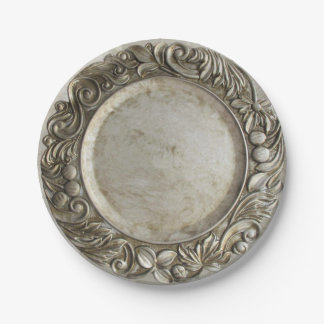 Faux vintage silver/pewter raised border design paper plate