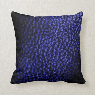 Faux Warm Navy Blue Metalic Leather-Solid Throw Pillow