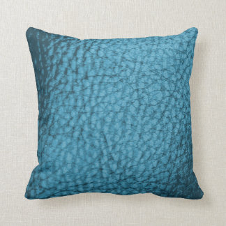 Faux Warm Trendy Med. Blue Metalic Leather-Solid Throw Pillow