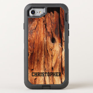 Faux Weathered Wood With Personalized Name OtterBox Defender iPhone 7 Case