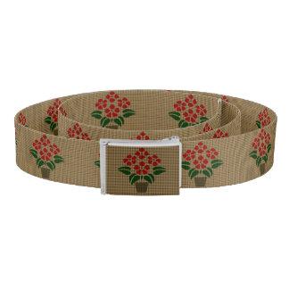Faux Weave Poinsetta Flower in Pot Belt