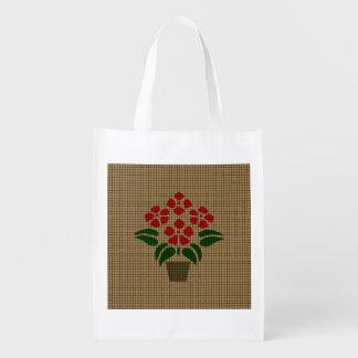 Faux Weave Red Poinsetta Flower in Pot