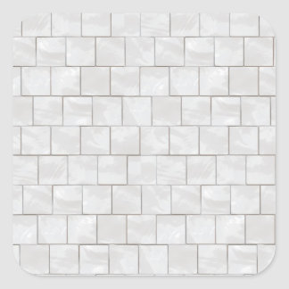 Faux White Decorative Marble Tile Background Square Sticker